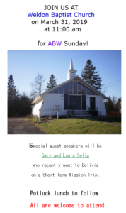 ABW Sunday with Gary and Laura Selig @ Weldon Baptist Church