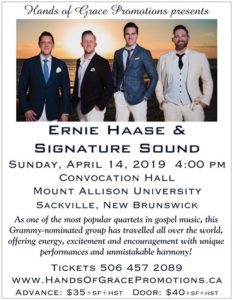 Rescheduled  Ernie Haase Concert @ Mount Allison Convocation Hall